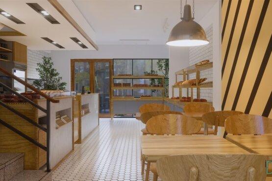 interior toko roti gaya modern