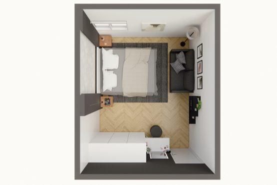 denah kamar tidur modern minimalis