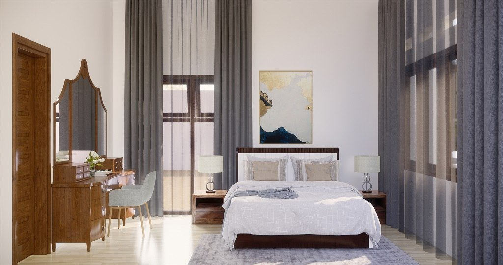 kamar tidur gaya kolonial