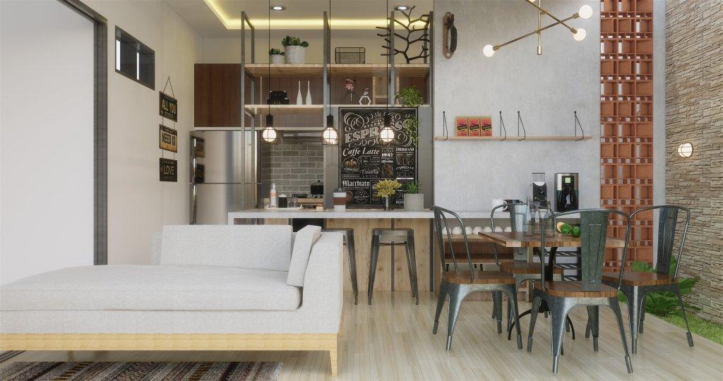 Desain ruang makan dan dapur gaya industrial