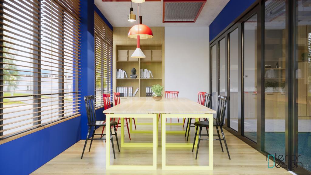 desain kantor colorful industrial