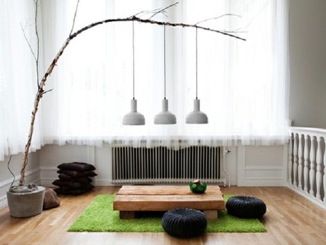 ruang tamu lesehan minimalis ala Jepang