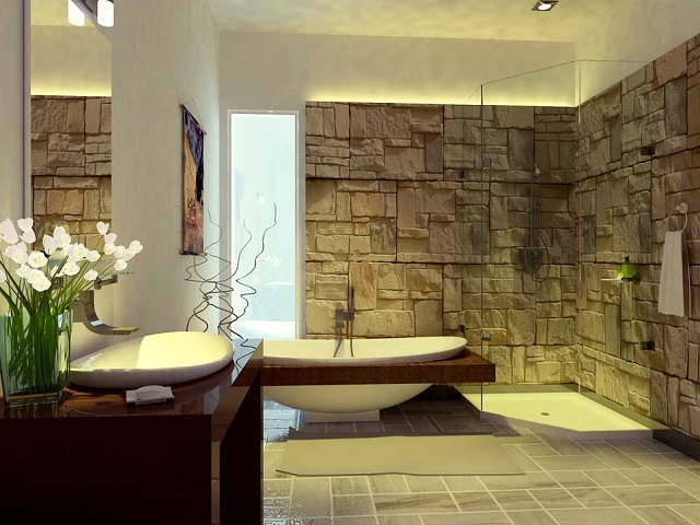 kamar mandi dengan dinding batu