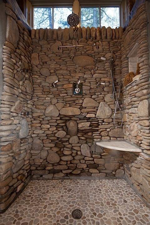 dekorasi dinding kamar mandi dari batu alam