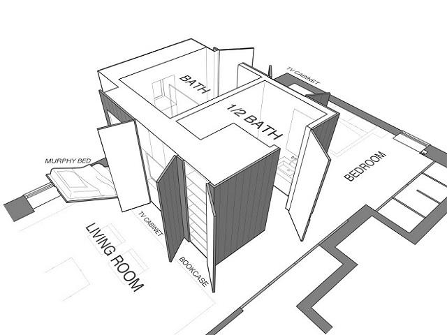denah atau layout apartemen studio