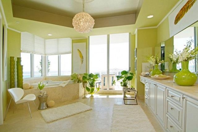 tren interior rumah dengan skema warna hijau