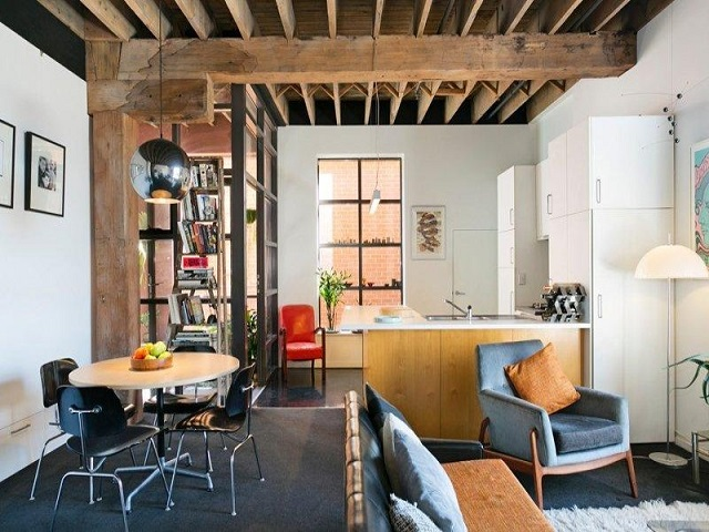 desain interior ruang tamu industrial