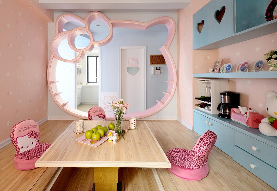 Download Desain Interior Rumah Minimalis  desain rumah hello kitty tampilan merah muda yang imut dan