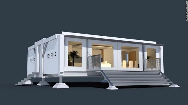 Desain rumah kecil prefabrikasi ten fold engineering