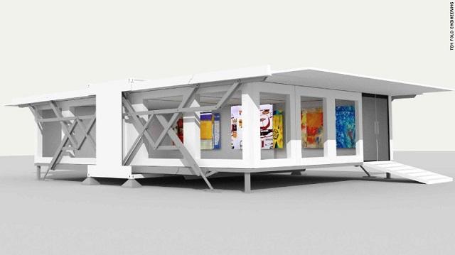 Desain rumah kecil prefab rancangan ten fold engineering