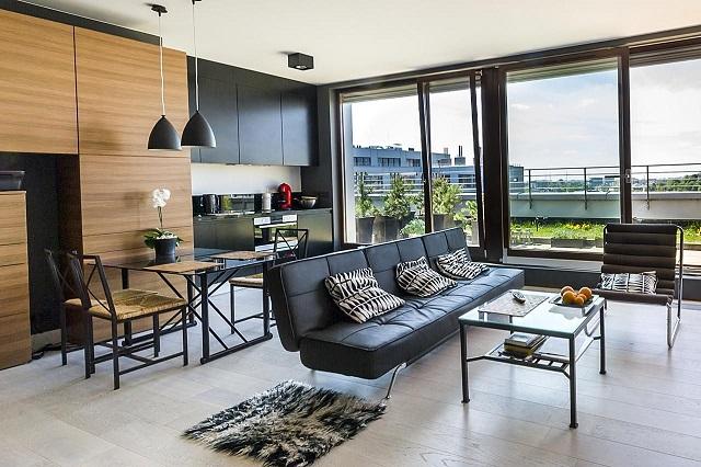 Visualisasi gaya desain interior kontemporer