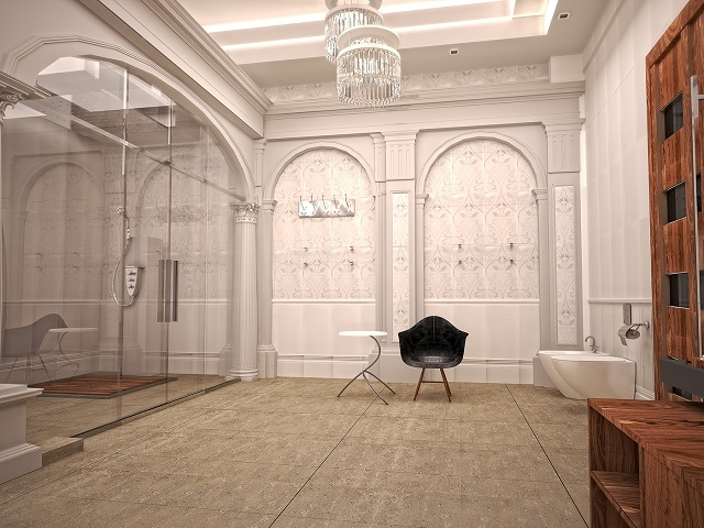 Desain kamar mandi neoklasik super mewah