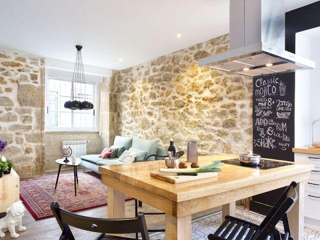 Desain dapur dinding batu; desain dapur modern