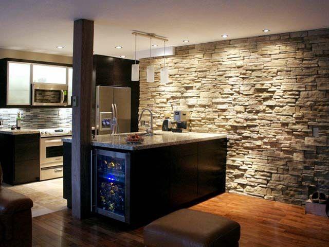 Desain dapur dinding batu; gaya futuristik