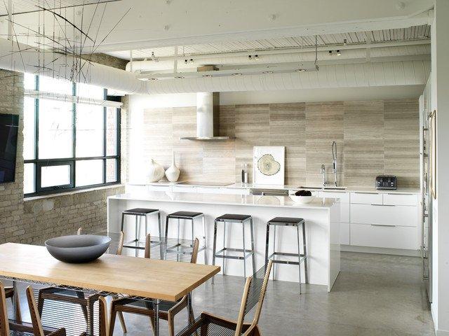 Desain dapur dinding batu; gaya minimalis campuran insdutrial