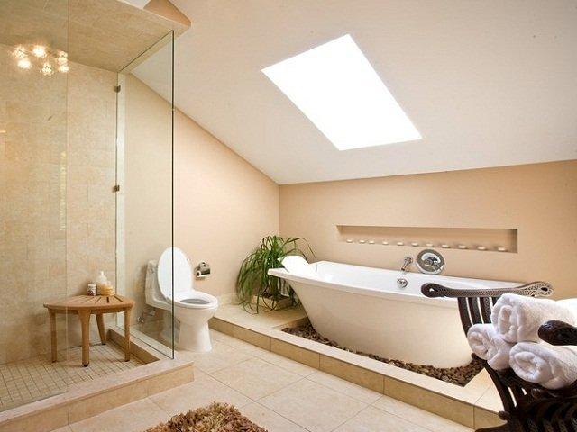 desain interior spa; rancangan interior kamar mandi pada spa yang bersih dan nyaman