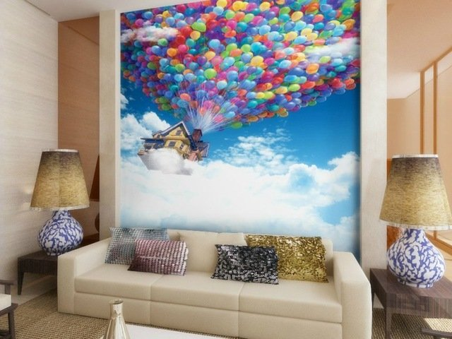 Memasukan unsur warna pada ruangana monokrom; wallpaper tiga dimensi di ruang tamu dengan skema warna netral/monokrom.