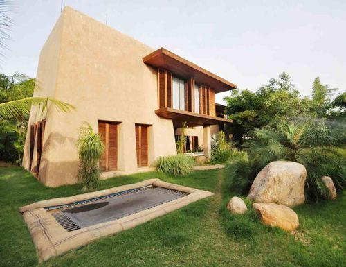 Desain rumah ramah lingkungan; desain fasad rumah modern-cob