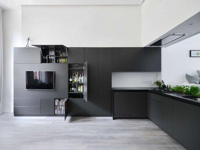 desain dapur monokrom, ruang dapur dengan skema warna hitam dan putih dan minimalis