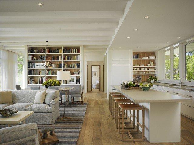 unsur dan elemen dasar desain interior; konsep open space/open living/; dapur ruang terbuka