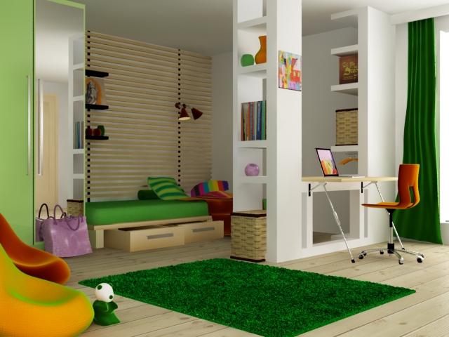 skema warna desain interior, kombinasi hijau dan oranye yang soft