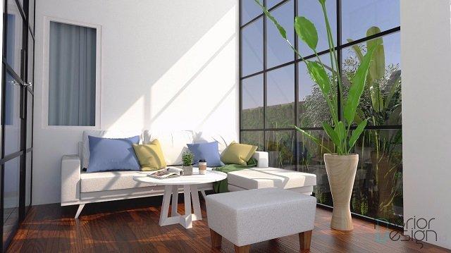 desain interior ruang tamu dengan pencahayaan alami