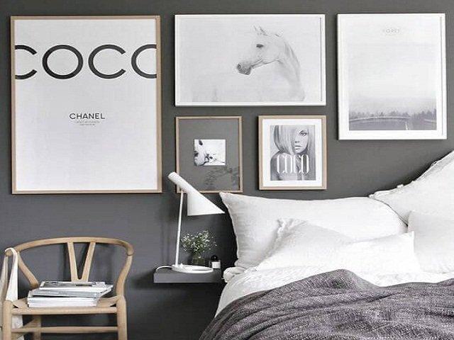 desain kamar hitam putih