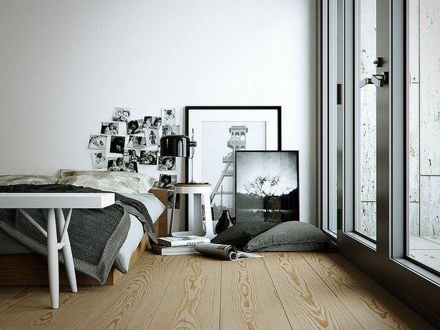 desain kamar putih hitam