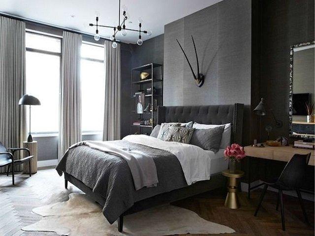 desain ruang dengan skema warna gelap; desain kamar tidur ala swedish