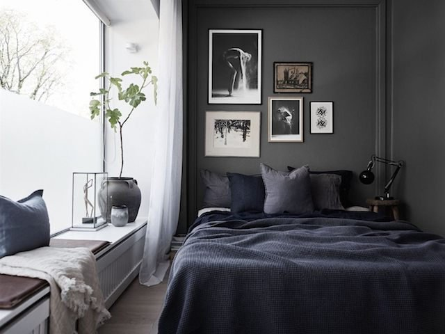 desain ruang dengan skema warna gelap; skema warna interior kamar tidur