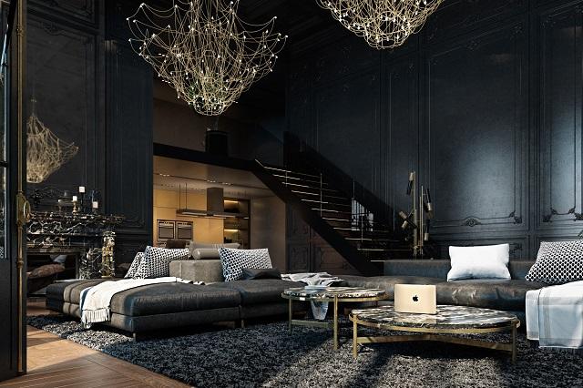 desain ruang dengan skema warna gelap; modern gothic