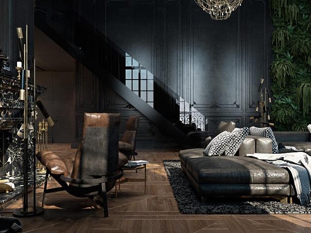 desain ruang dengan skema warna gelap; tegas, berani, elegan