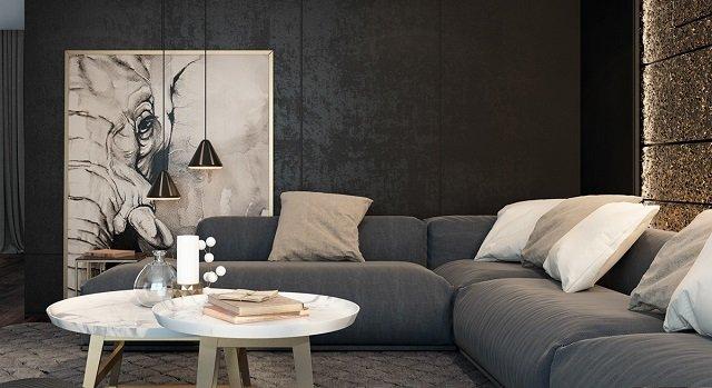 desain ruang dengan skema warna hitam; ruang tamu dengan skema warna hitam yang atraktif
