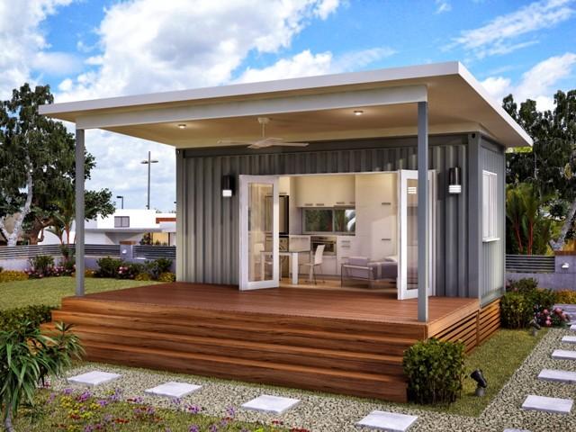 desain fasad rumah kontainer minimalis