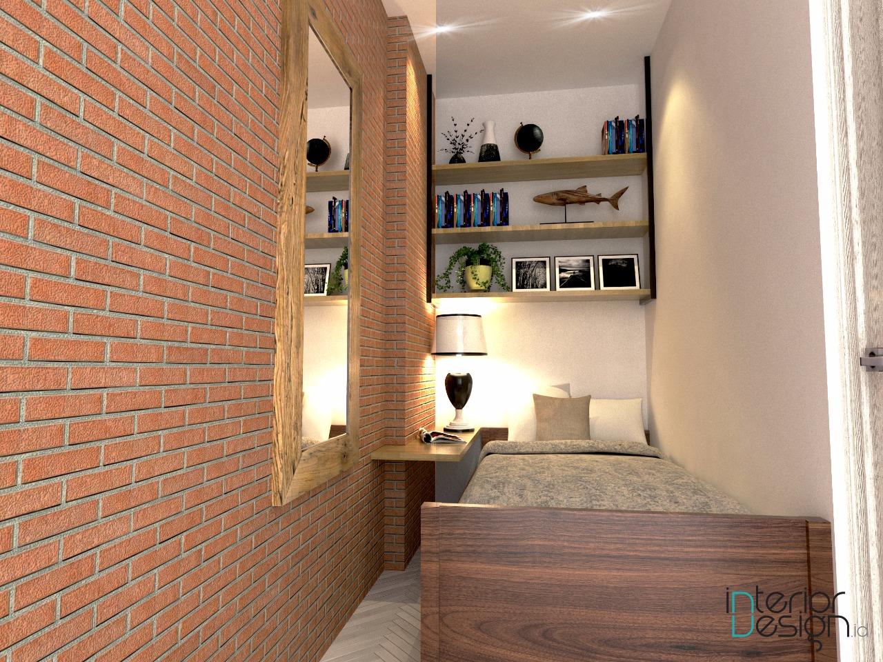kamar minimalis dengan bata ekspos pada salah satu bagian dindingnya