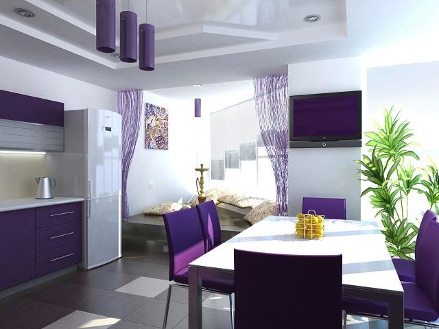 dekorasi interior warna ungu