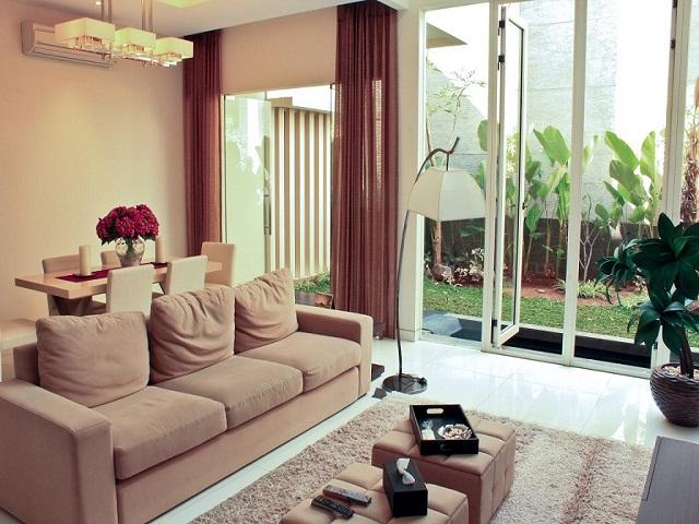 Interior ruang tamu rumah tipe 70