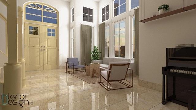 desain ruang tamu gaya eclectic