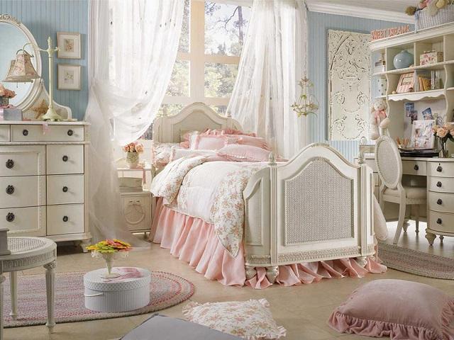 Desain interior kamar tidur gaya shabby chic