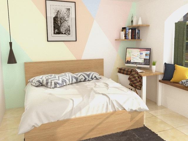 kamar tidur kecil; kamar minimalis dengan aksen warna pastel