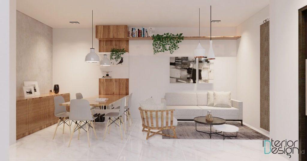 interior ruang tamu dan area makan modern, bandung