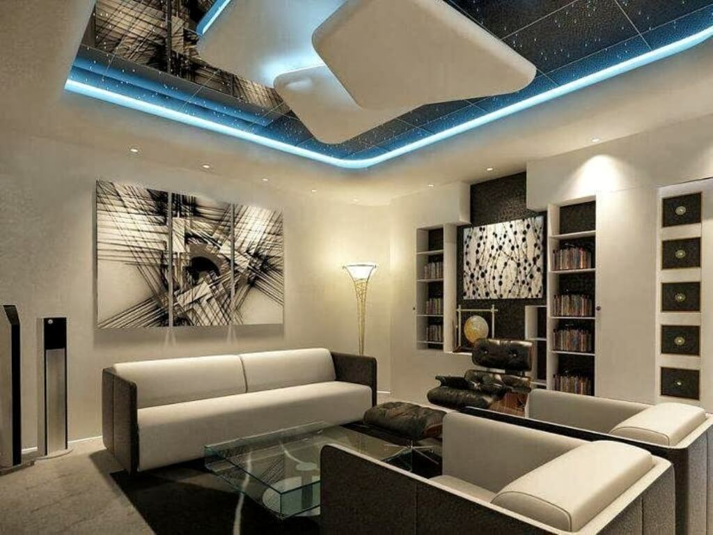 desain plafon gaya futuristik