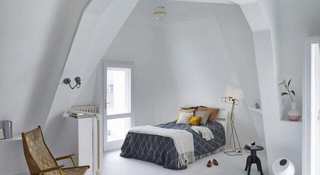 kamar tidur kecil gaya skandinavia