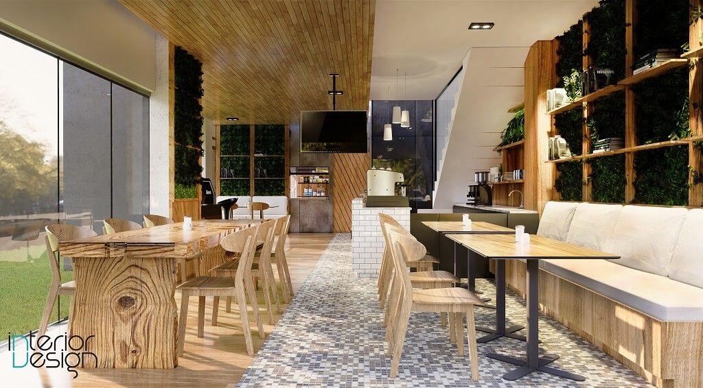 interior cafe gaya modern natural tropikal