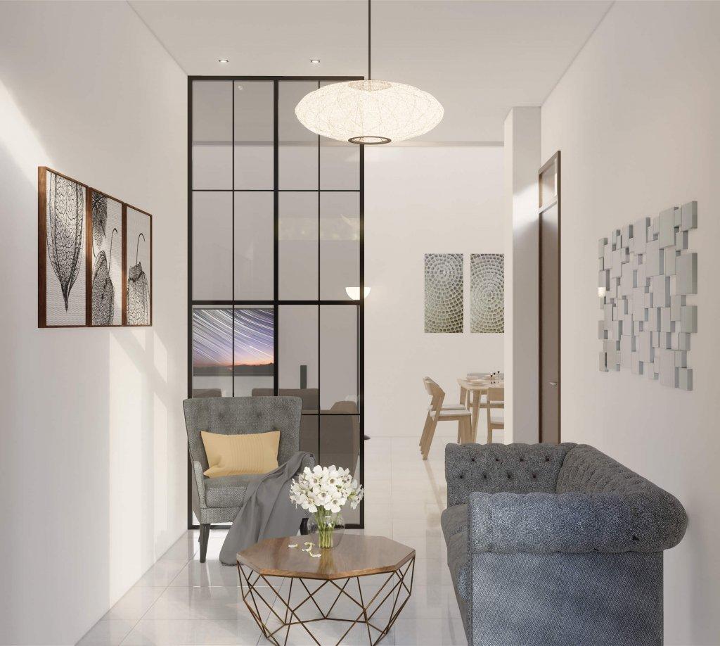 Ruang tamu gaya modern klasik