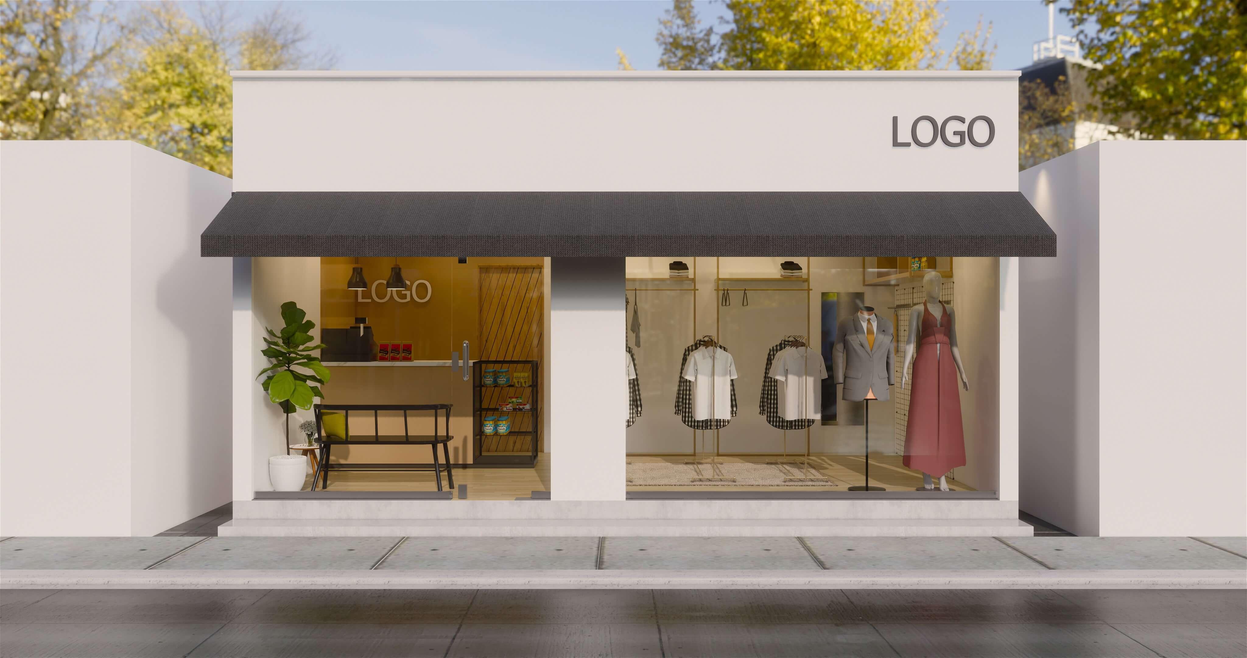 Desain fasad toko baju