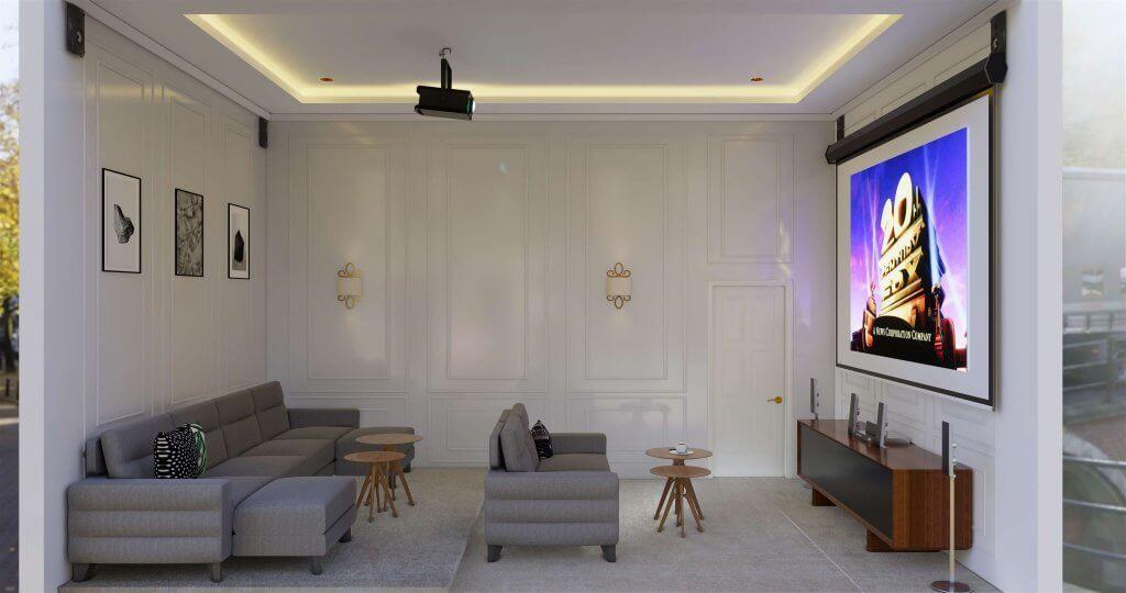 interior ruang keluarga plus home teater
