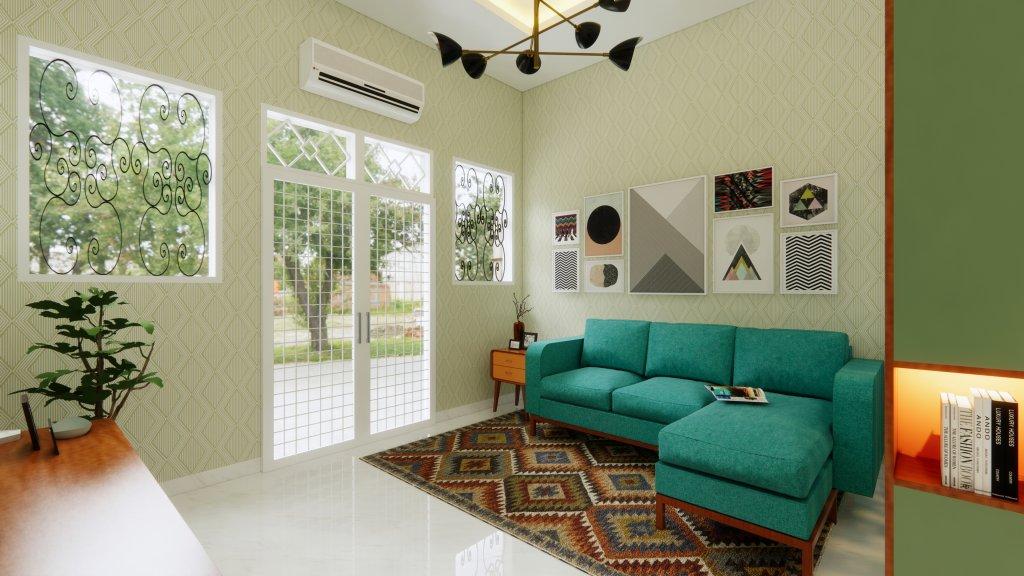 interior ruang keluarga gaya vintage