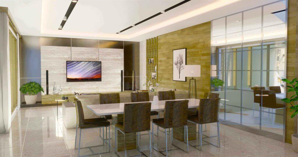 interior ruang keluarga dan ruang makan gaya modern minimalis