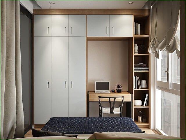 kamar tidur dengan penyimpanan yang tertata rapi